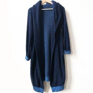 YOON Anthropologie Blue Long Knit Cardigan Sweater
